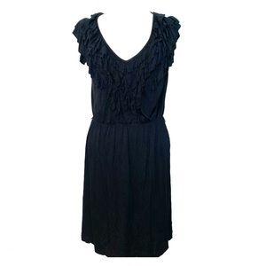 Soft and comfy ruffle neckline black dress